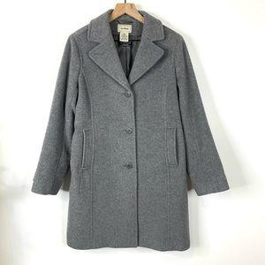 LL Bean Gray 100% Wool Pea Coat Bellandi Italy 10